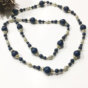 Navy blue & Gold beads LONG sweater necklace